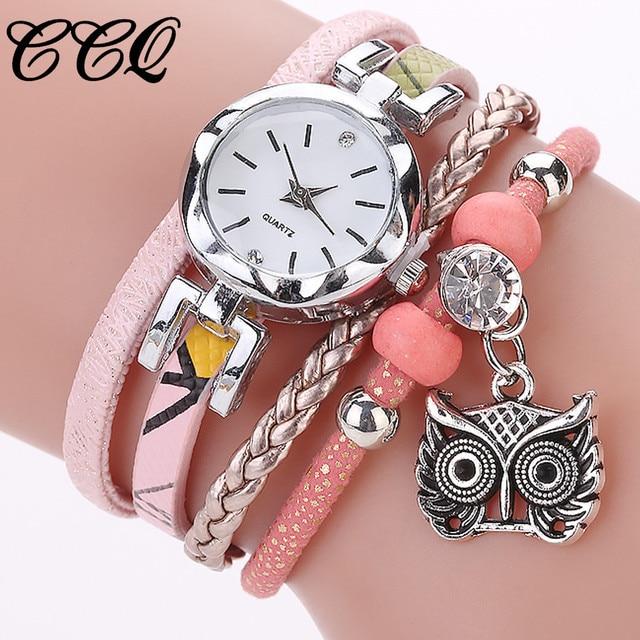 Pink Fashion Owl Pendant Quartz Watches HOT Sale Bracelet Watches Luxury Crystal