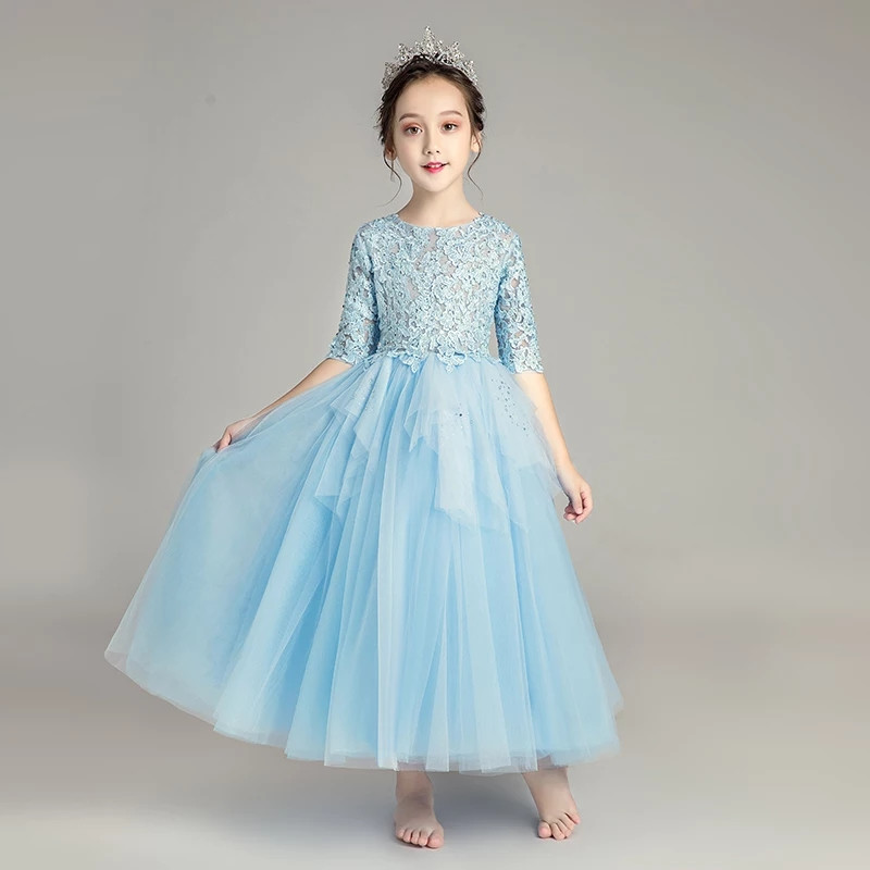 2018 Autumn Winter New Children Girls Elegant Blue Color Birthday Wedding Evening Party Princess Lace Long Dress Toddler Dress autumn long lace dress cut out pink blue fit and flare sleeve bodycon tunic evening party midi dress european style