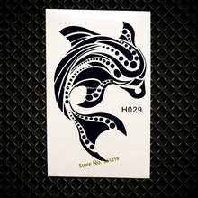 Cute Black Dolphin Temporary Tattoo Sea Animal Waterproof Fake Flash Tattoo Stickers GH29 Girl WOmen Makeup Party Tattoo Sticker