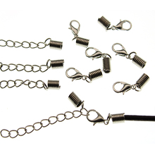 20 Set fit 2.5 3mm Cord End Clasps Crimp Beads Bracelet Necklace Connectors Lobster Clasp Extende Chain for DIY Jewelry Findings