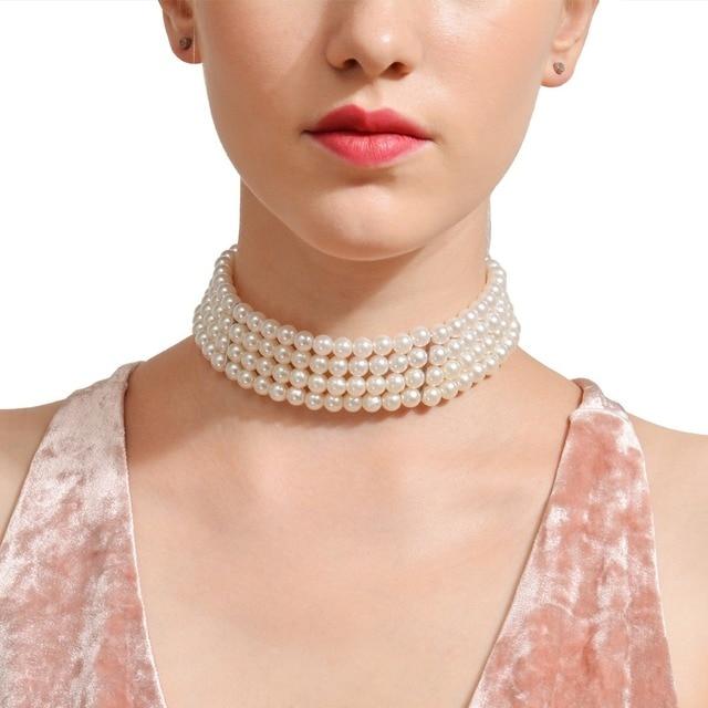 נשים שרשרת פניני חיקוי שכבה KMVEXO רב אביזרי חתונה תכשיטי אופנה שרשראות & תליוני הצהרת קולר צווארון