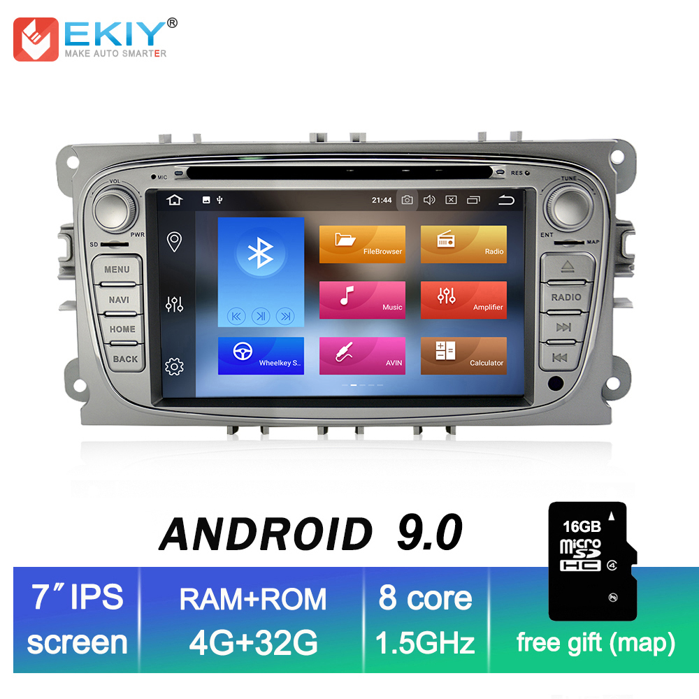 EKIY IPS 4G+32G Android 9.0 2 Din Car Multimedia Player DVD Radio for FORD FOCUS Mondeo S-MAX C-MAX Galaxy Kuga GPS Navi Stereo