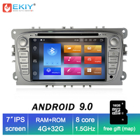 EKIY IPS 4G+32G Android 9.0 2 Din Car Multimedia Player DVD Radio for FORD FOCUS Mondeo S MAX C MAX Galaxy Kuga GPS Navi Stereo