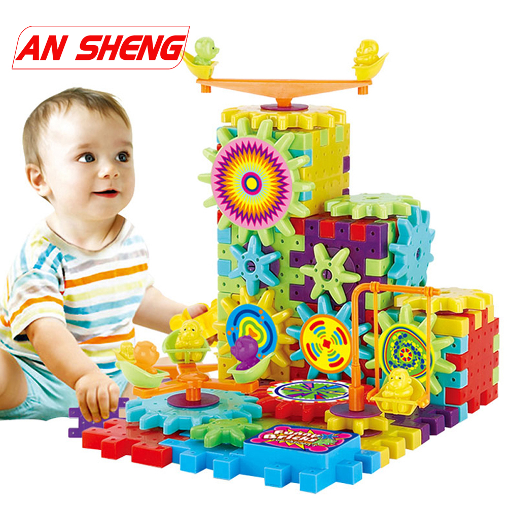 Hot New 81Pcs Plastic Electric Gears 3D Building Blocks Kits DIY Bricks Educational Toys For Kids Children Christmas Gift Duploe