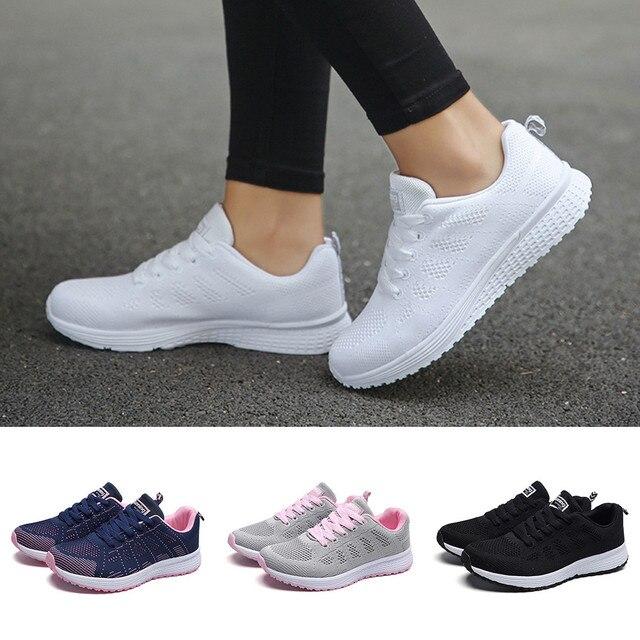 Delle donne piatto Casual scarpe Maglia di Modo Rotondo Croce Cinghie Scarpe Da Tennis Piane Runningg Scarpe Casual Scarpe scarpe ginnastica donna @ A30