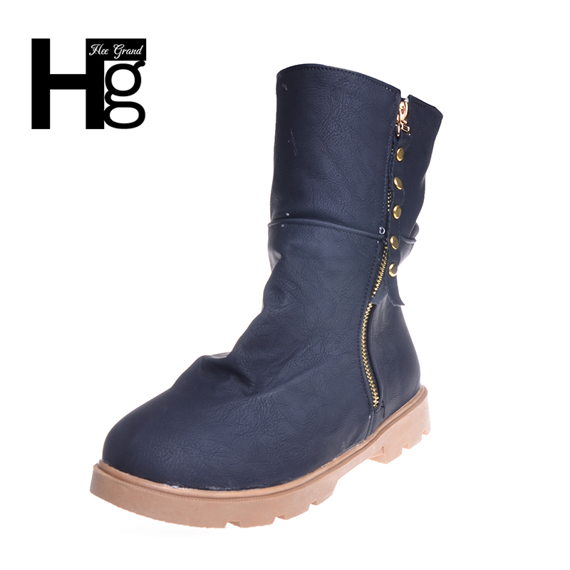 HEE GRAND Women Short Ankle Boots Winter Warm Fur Woman Boots Round Toe Zip Closed Turn Over Pattern Flat Riding Shoes XWX3943 hee grand women snow boots winter flat panda pattern shoes woman fur cotton slip on snow ankle boots size 35 40 xwx4498