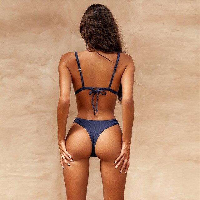 Sexy Navy Blue Bikini 2019 Thong Swimsuit Women Push Up Swimwear Backless Summer BeachWear Strapped High Cut Bikini Bath Suit