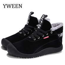 YWEEN Mens Boots Winter With Fur 2018 Warm Snow Men Shoes Footwear Fashion Rubber Ankle 39-48