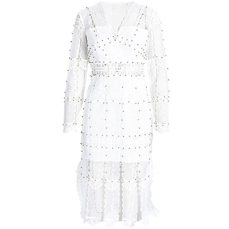 Longues Manches Blanc Femmes Parti Perlée À Broderie White Robe Dentelle xRwnvqBpO