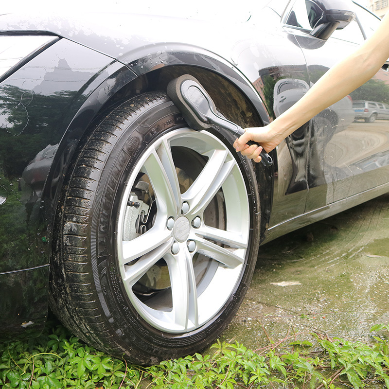 Image 3 - Car Wash Car Cleaning Tool Black Long Handle Cleaning Brush Tire Waxing Sponge Car Care Products Multifunction Wheel Brush 2019-in Sponges, Cloths & Brushes from Automobiles & Motorcycles