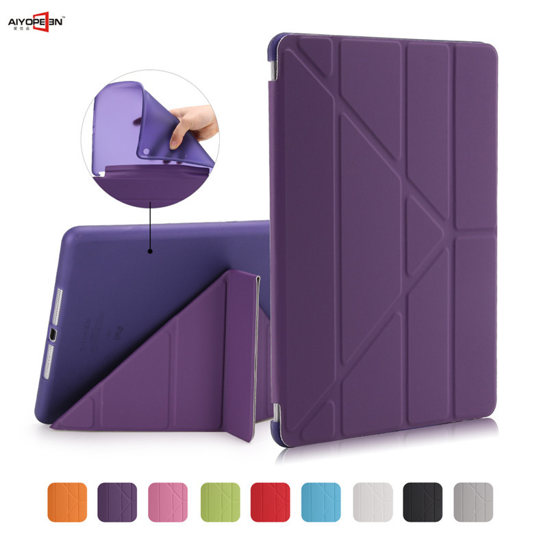 все цены на for Ipad air1 case smart wake up sleep tpu back cover for apple ipad 5 11-fold pu leather flip stand soft with small gift онлайн