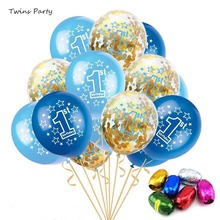 цена Twins Baby Shower Blue Boy Girl Latex Balloons  One 1 Year Old First Happy Birthday Party Decoration 1st Birthday Decorations в интернет-магазинах