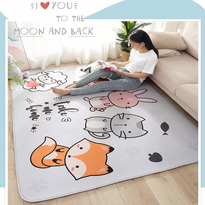Animal de bande dessinée mignon grand tapis chambre salon tapis souple rampant rectangulaire pour enfants