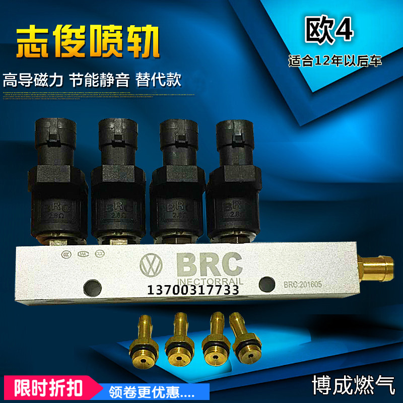 Silent high speed CNG LPG Injector Rail 3Ohms 4Ohms for 4cylinder Sequential injection System Common Injector