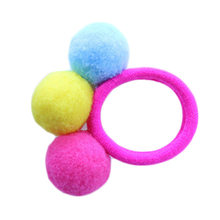 New Style Baby Girl Autumn Winter Models of three Wool Plush Ball Hair Circle Girls Hairline 12 Colors(China)