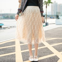 Feather tassel gauze pleated skirt pregnant women skirt new summer Korean fashion A word pregnancy skirt
