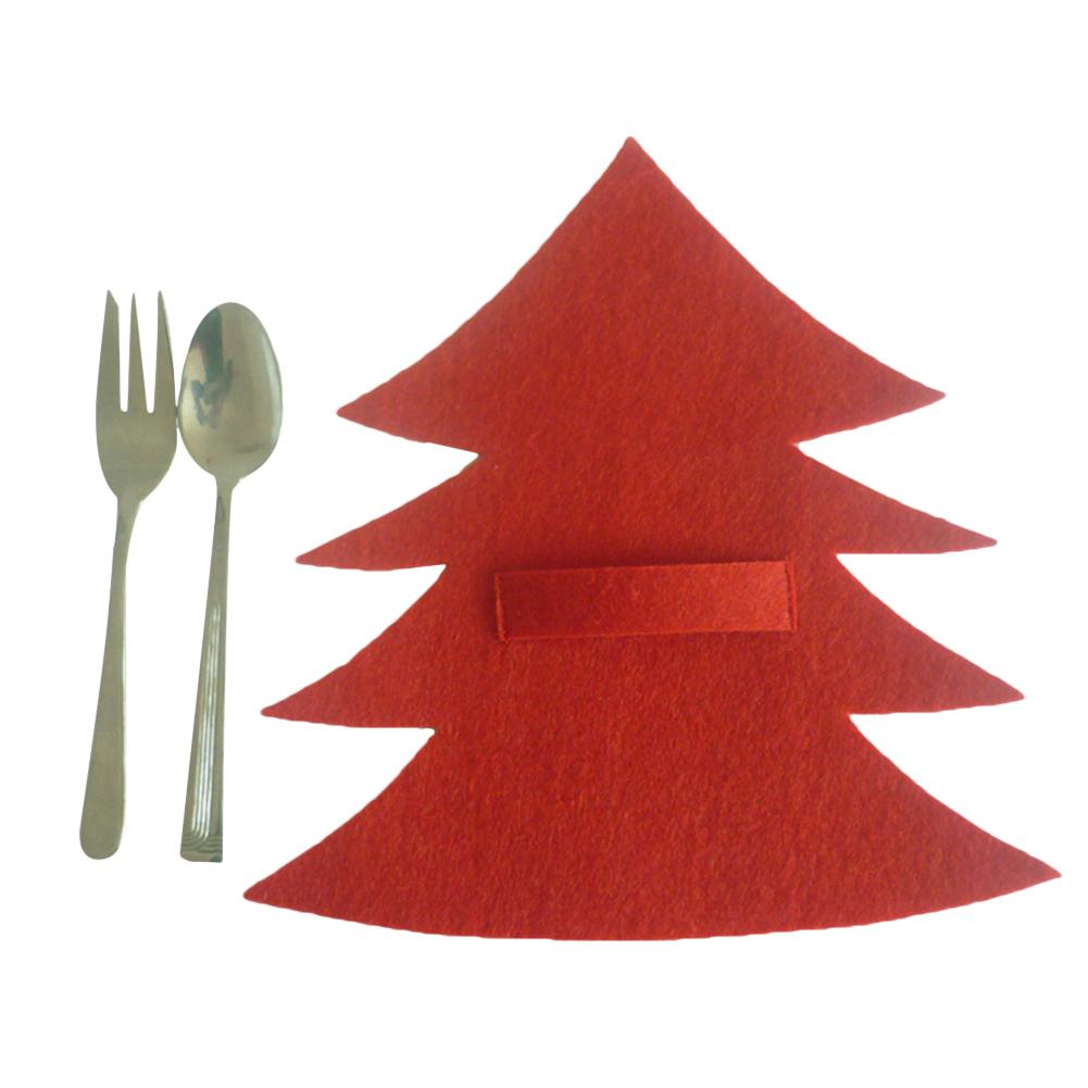 4Pcs Of Christmas Tree Dinnerware Holder Christmas Decoration Gifts Tableware Bags