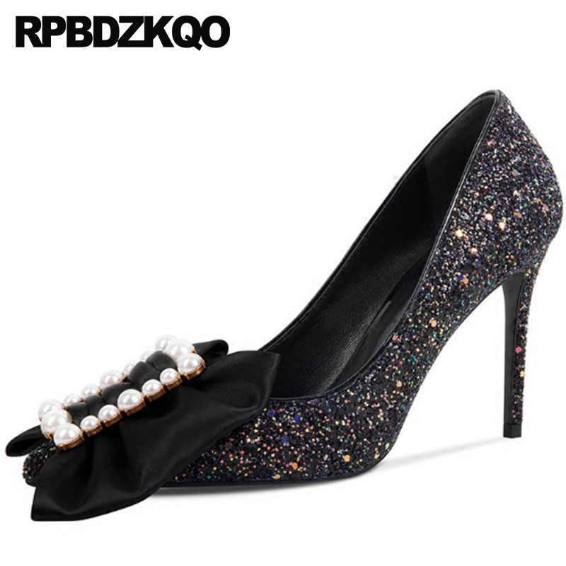 09da86383 Pointed Toe Bow Glitter Party Black Prom Bridal Size 4 34 Pearl Bride 2018 Ladies  Pumps