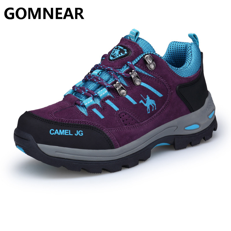 GOMNEAR 2019 Summer Breathable Hiking Shoes Women Outdoor Hiking Sneakers Sports Antiskid Trekking Shoes Mountain Climbing
