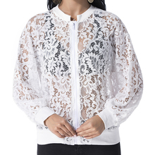 Women Lace Jacket Coat 2019 Autumn Elegant Casual Loose Long Sleeve Zippers Bomb