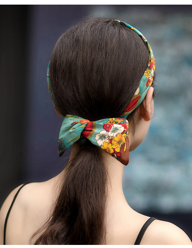 50s women vintage rockabilly pinup style floral  print headband in green hair head bands hair scarf accessories bow wire inside