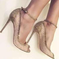 Newest Charming Golden Glittering Crystal Stiletto Heels Fancy Mesh Lace Peep Toe Pumps Concise Women Line Buckle Style Shoes