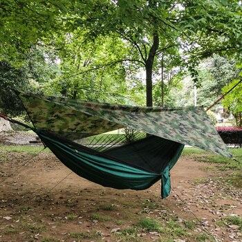 Hamaca portátil para acampar al aire libre para 1-2 personas con mosquitera, hamaca colgante de tela para cama, caza, columpio para dormir y carpa de lona