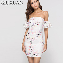 QIUXUAN Summer Short Sleeve Off Shoulder Dress Fashion Ruffles Layer Sleeve Floral Print Mini Dress Women Bardot Bodycon Dress