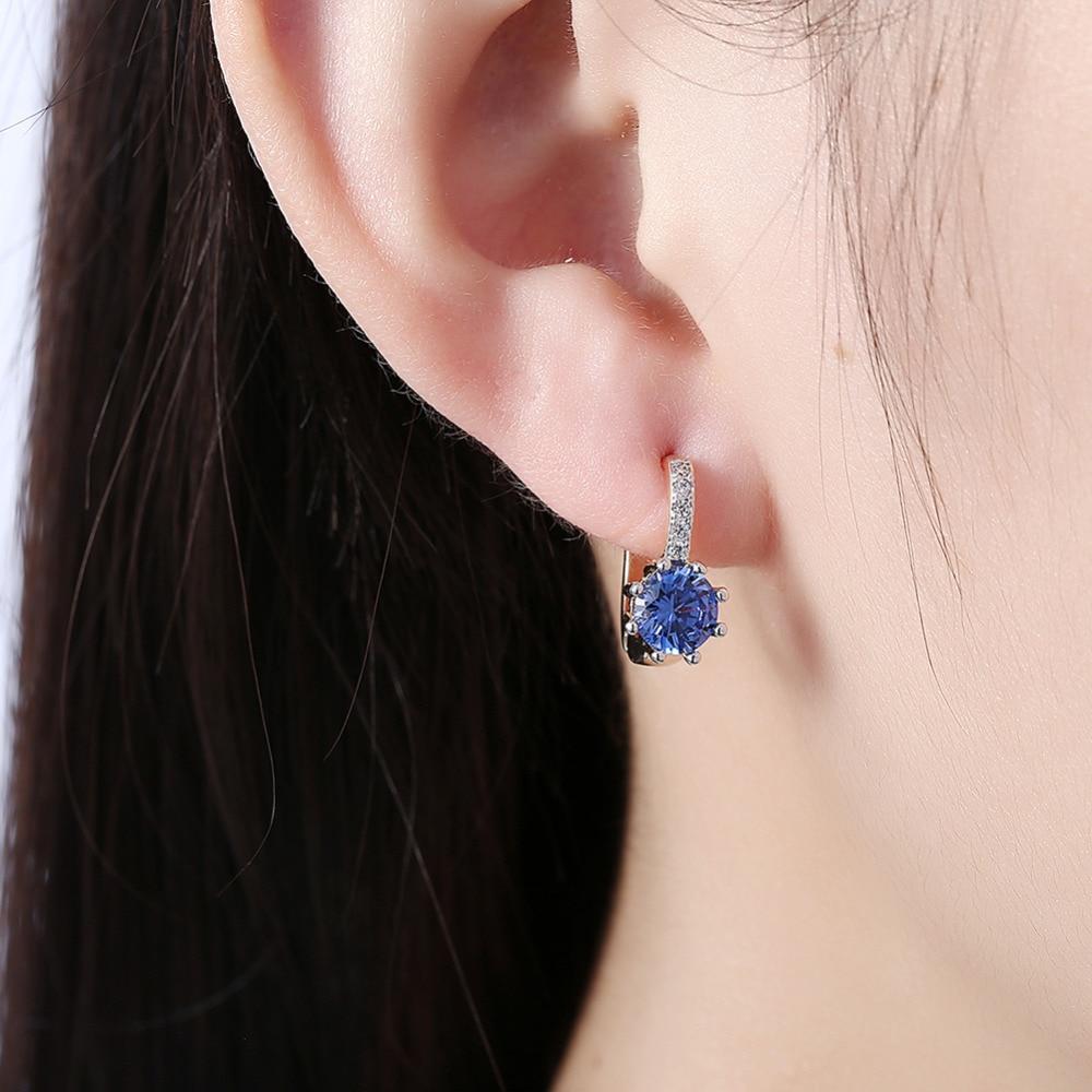 Best Selling Retro Vintage Style Fashion Gold Plating Statement Earrings Party Women Jewelry Blue White Stones Dangle Earrings in Drop Earrings from Jewelry Accessories