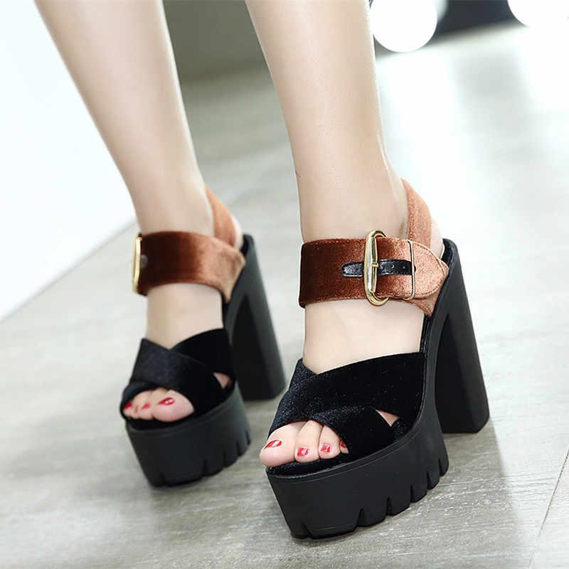 55f26e4b7 ... Gdgydh Summer Flock Women Sandals Platform Square Heels Female Shoes  Fashion Buckle High Heeled Shoes Women ...