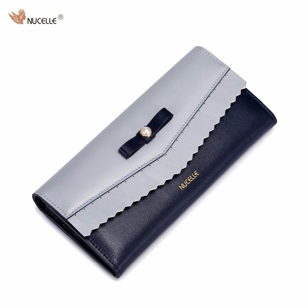 2017 New Nucelle Brand Design Pearl Bow Mousse buckle High Quality Soft PU Leather Women Lady Clutches Wallet Phone Cards Holder nucelle brand new design french style threads cow leather women lady long wallets clutches cards phone holder