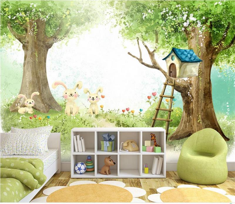 US $14.54 51% OFF|Custom 3d foto tapete kinderzimmer wandbild baum haus  kaninchen cartoon malerei TV sofa hintergrund vlies tapete für wand 3d-in  ...