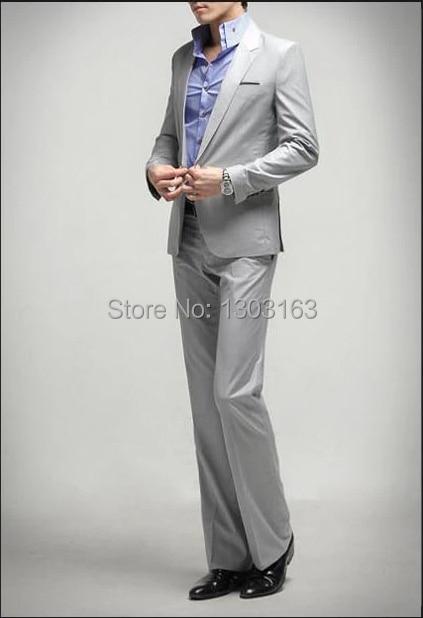 2016 mode gris hommes costume simple boutonnage 1 bouton Slim Fit costume de mariage (costume + pantalon + cravate) gris clair livraison gratuite - 3