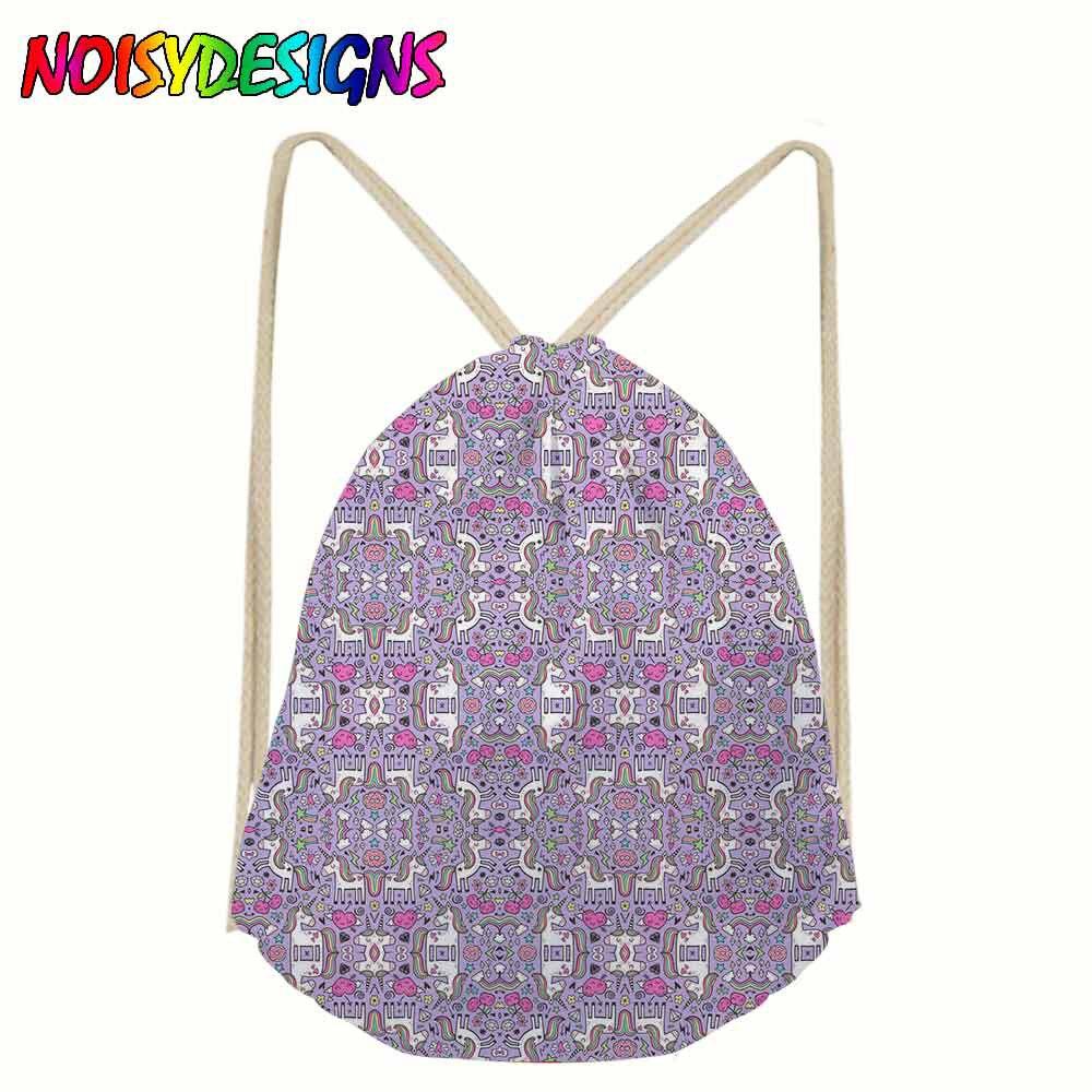 Drawstring Bag Kids Rainbow Watercolour Galaxy Unicorns Printing Men Backpack String Shoulder Bags for School Boys