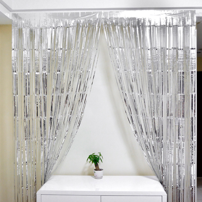 Sliver Gold Foil Fringe Curtain 1*2M Door Curtains Tinsel Shining Party  Wedding Birthday Marriage