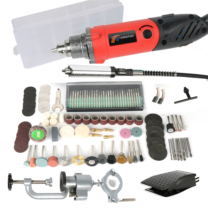 TUNGFULL Electric Drill Rotary Tool Accessories Household Hardware Tools Drilling Machine Dremel Mini Drill Variable Speed