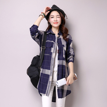 #2918 Korean Style Long Plaid Shirt Women Pockets Asymmetrical Casual Shirt Tunic Long Sleeve Cotton Linen Blouse Female Elegant цена и фото