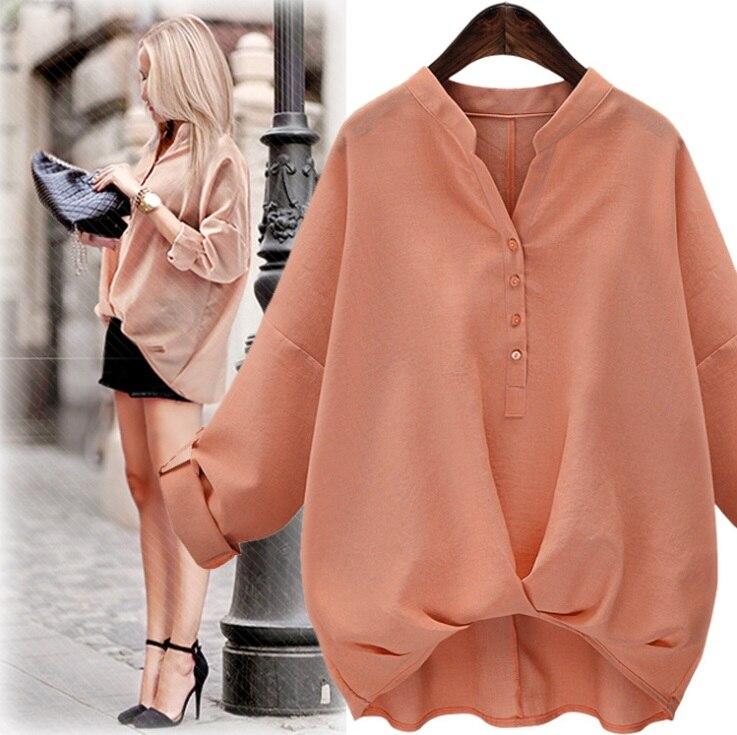 2016 Autumn Tops V-neck Cotton Blouse Shirt Women Fashion Ladies Top Shirts Clothing Korean Plus size S-XL White Black Pink
