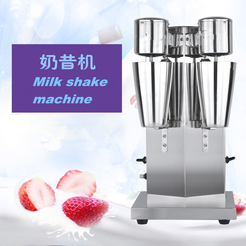 Commercial Stainless Steel Milk Shake Machine Double Head milkshaker Mixer Blender Milkshake Bubble Tea Machine   ZF 220v commercial single double head milkshake machine electric espresso coffee milk foam frother machine bubble maker