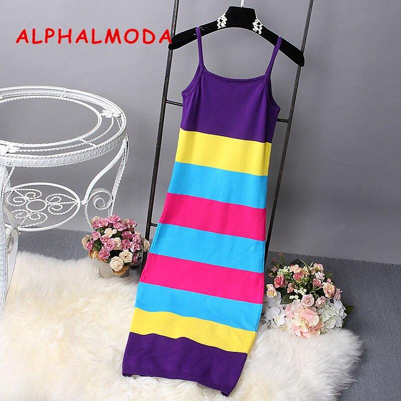 Algodón Mujeres púrpura Hit Mediados Pullovers Verano Nuevo rosado Punto naranja De Mezcla Verde Largo Becerro Rayas Sundress A Vestido Color Femenino dxR1xr0w