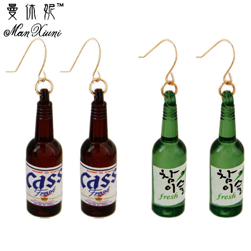 2019 Summer style New Personalized Beer Bottle Shaped Drop Earring Acrylic Harajuku Sake Earrings Allergy Jewelry Designer