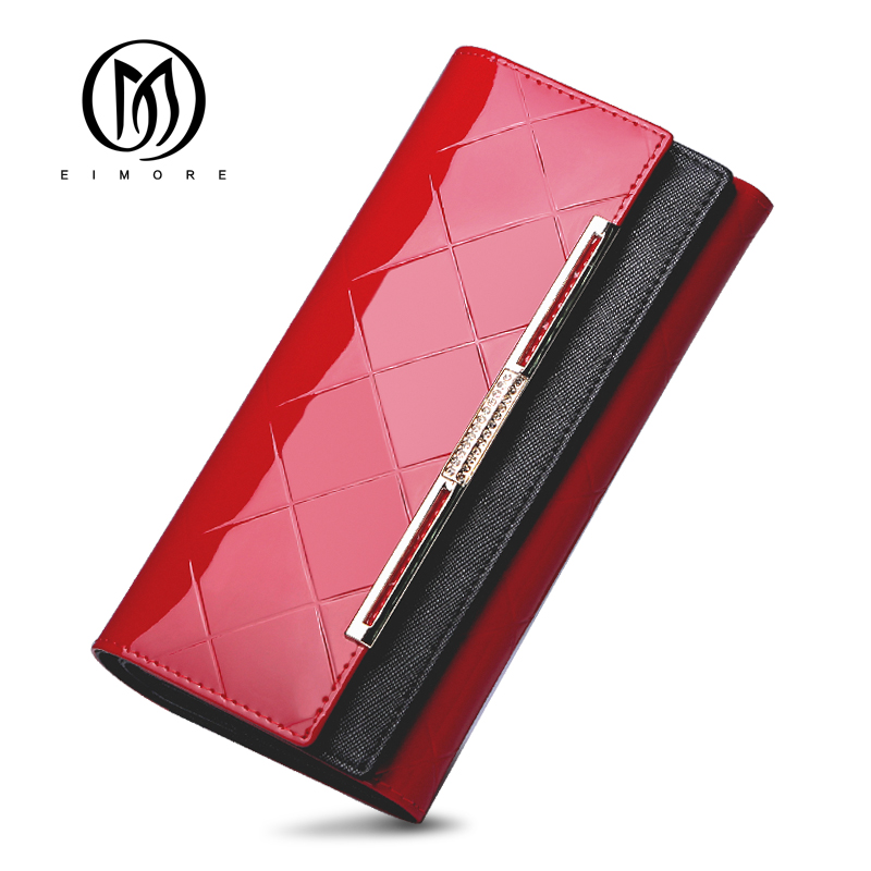 EIMORE 2018 Women Wallet Long Brand Coin Purse Patent Leather Women Wallets Purse Wallet Female Card Holder Carteira Feminina new fashion leather wallet korean bow solid women wallet hash 3 fold long women purse carteira feminina cion pocket card holder