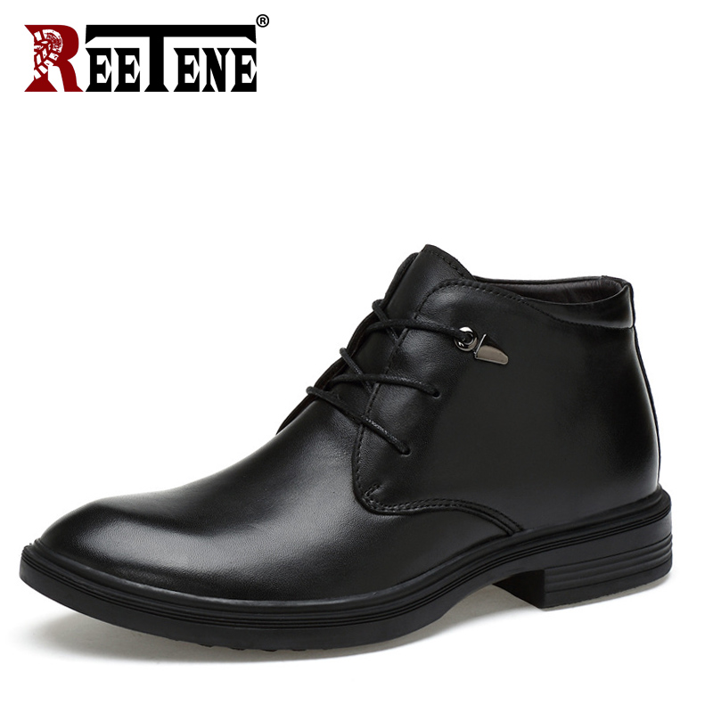 REETENE 2018 Winter Men S Boots Leather Casual Winter Boots For Men High Quality Men Footwear