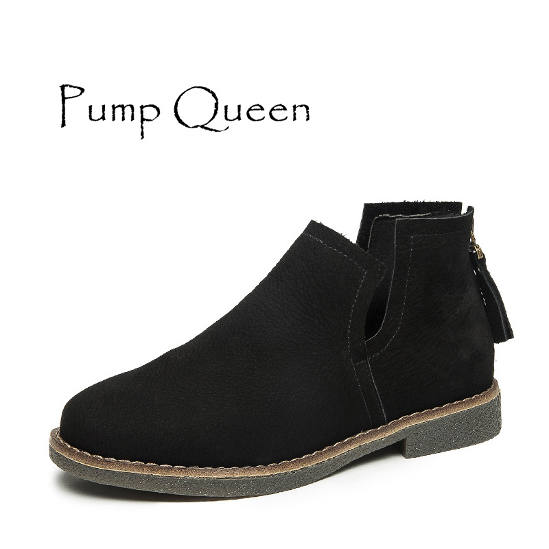 Chelsea Boots Shoes Woman Genuine Leather 2018 Autumn Women Boots Flat Heel Casual Ankle ...