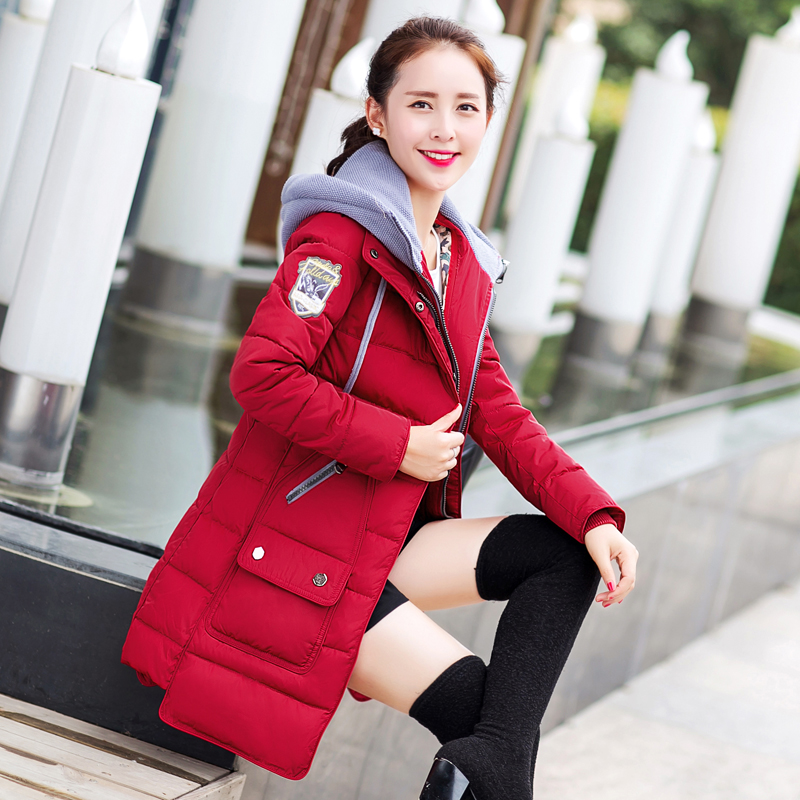 New 2015 Women Hooded Thicken Long Parkas Fashion Winter Coat Jacket Women Slim Wadded Cotton Outerwear Overcoat H5508 new 2017 winter hooded jacket women cotton wadded overcoat medium long slim casual fashion parkas female denim blue coats cm1509