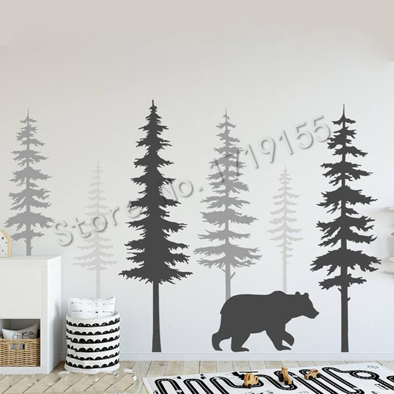 Pine Tree Wall Decal With Large Bear Wall Stickers Morden Style Baby Kid Room Decor Vinyl Nursery Tree Nature Wall StickerZW465