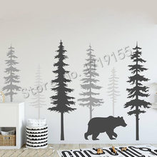 Pine Tree Wall Decal With Large Bear Stickers Morden Style Baby Kid Room Decor Vinyl Nursery Nature StickerZW465