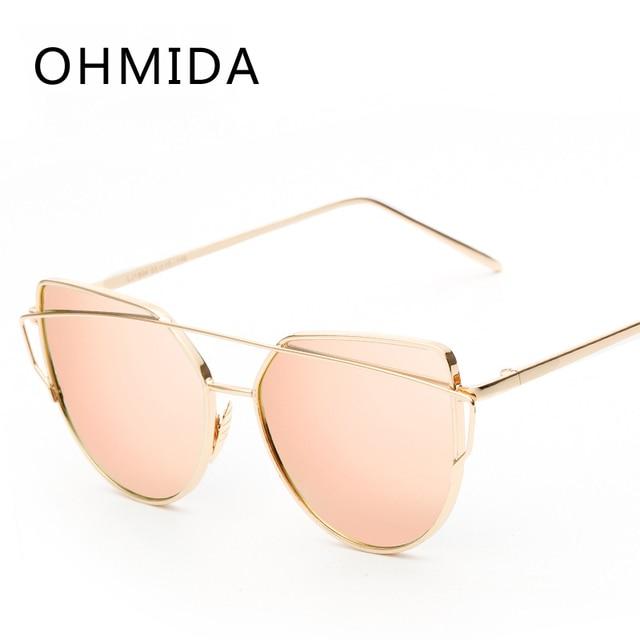 New Fashion Cat Eye Sunglasses Donne Del Progettista di Marca Twin-Fascio Specchio Lens Occhiali Da Sole In Oro Rosa Metallo UV400 Lentes de sol Hombre