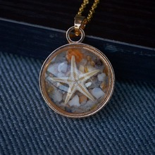 Natural Starfish Shell Sea Sand Beach Glow In The Dark Transparent Gold Color Pendant Chain Long Necklace Women Boho