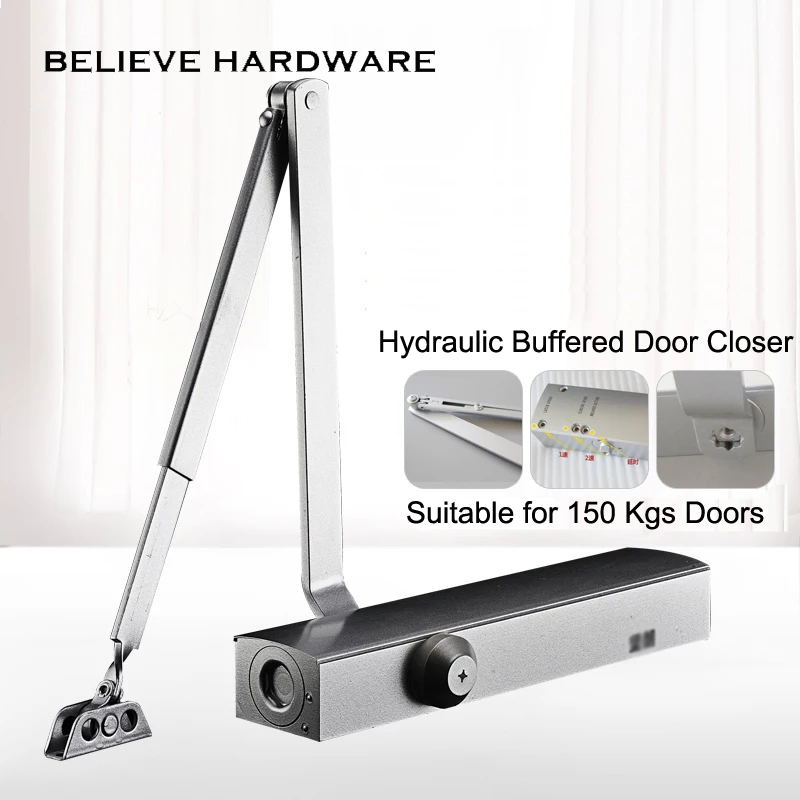 купить 150 Kgs Bearing Capacity Hydraulic Buffered Door Closer Back Check Available For Wooden/Metal Doors Silver Color B906 по цене 10198.95 рублей